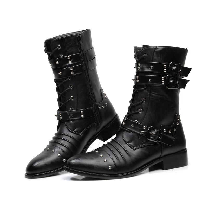 mens black boots punk steel studs zipper men pointed martin boots men army boots wlkfmkw