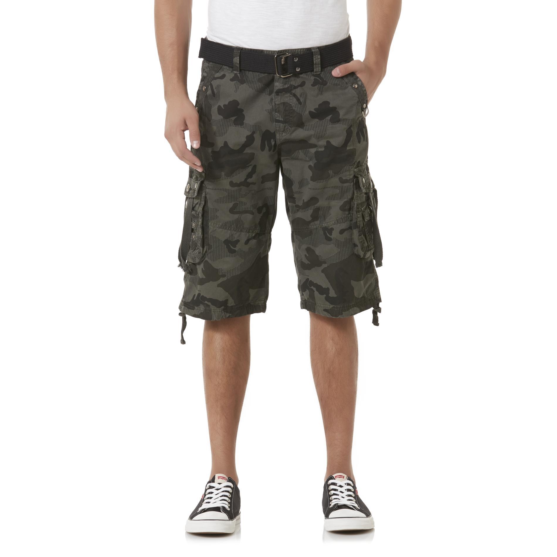 mens cargo shorts blue star menu0027s cargo shorts u0026 belt - camouflage cjhmhqf