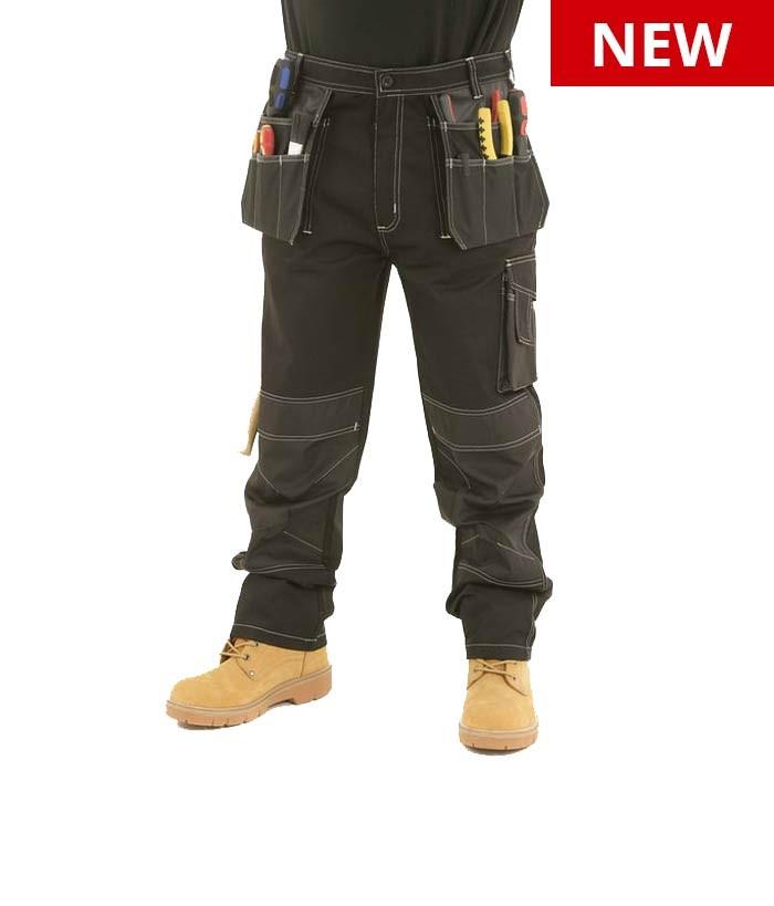 mens heavy duty cargo holster pocket work trousers by site king contrast tasstie