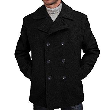 mens pea coats bgsd menu0027s u0027marku0027 classic wool blend pea coat ... fpbnvge