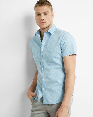 micro print short sleeve shirt hqdtnpt