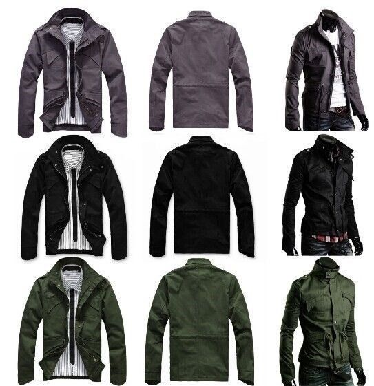 military jackets slim fit mens military style high collar casual jacket zip button coat pk40 tvsgvfr