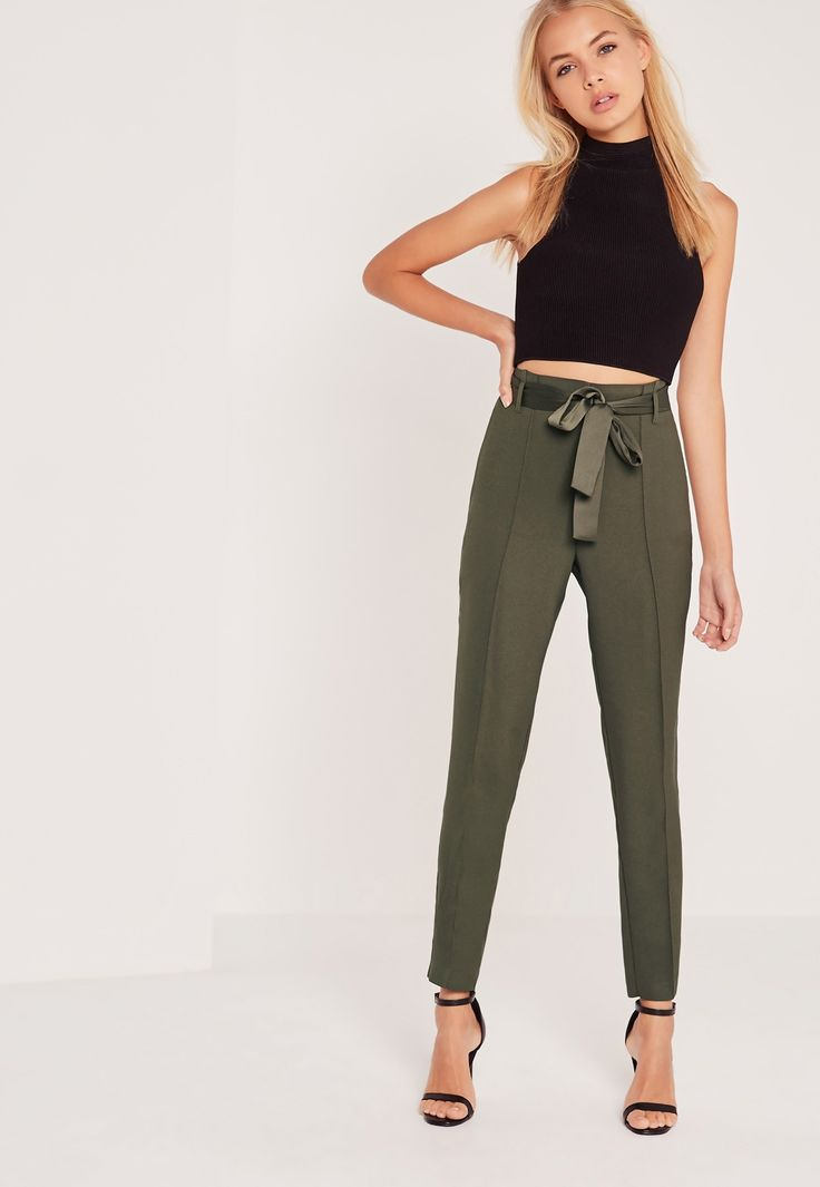 missguided - tie waist seamed front cigarette trousers khaki avawfzq