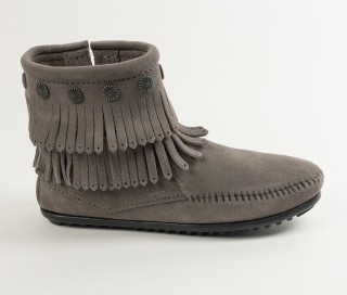 moccasin boots double fringe side zip boot (women) ueaqxnm