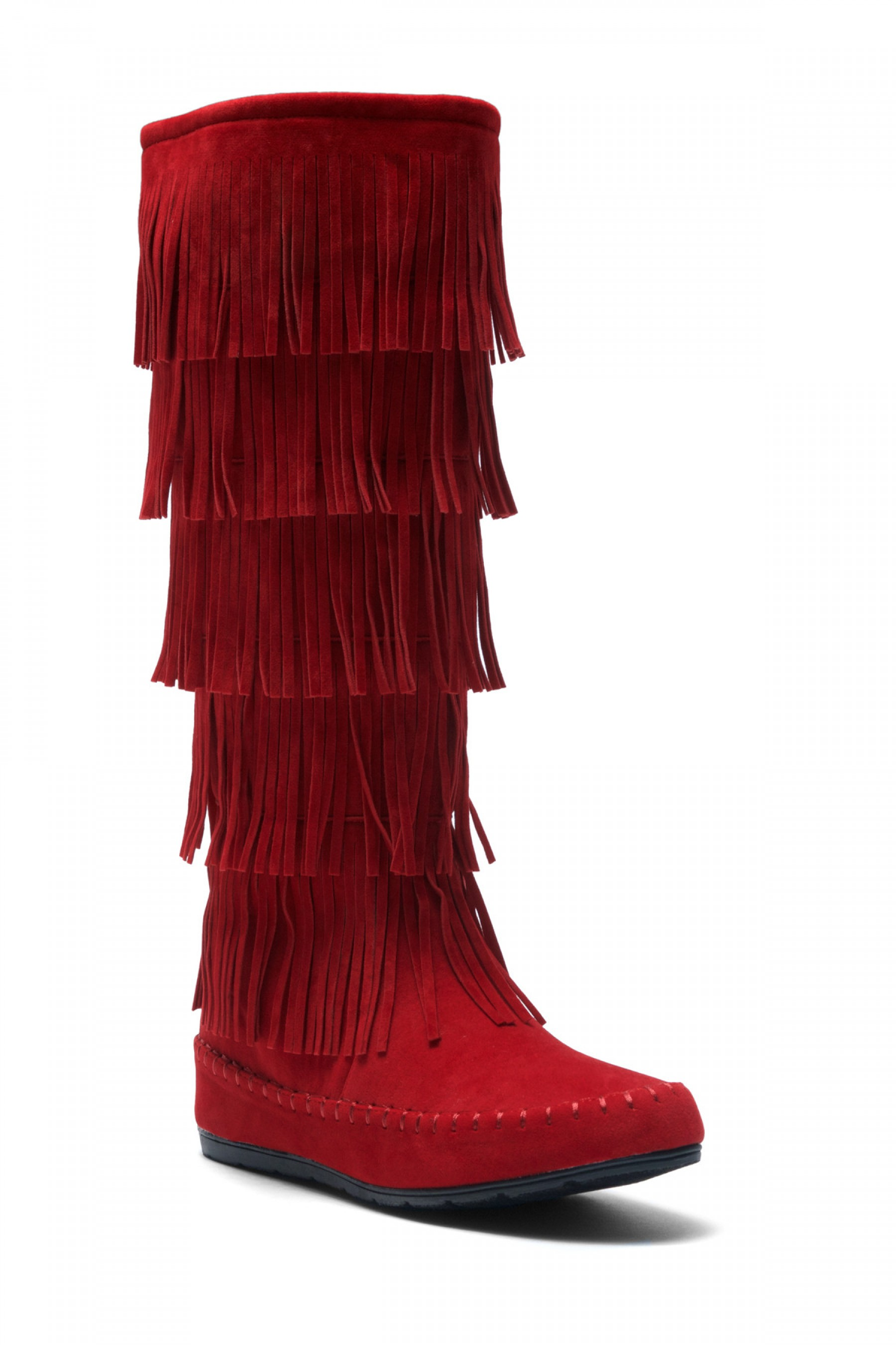 moccasin boots womenu0027s burgundy maddyyee faux suede knee high fringed five-layer moccasin  boots cqxbubw
