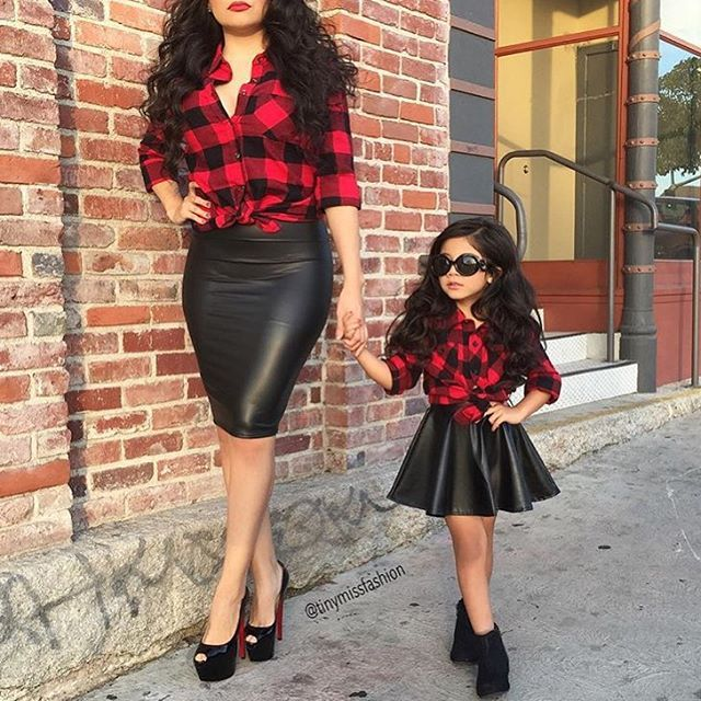 mommy and me outfits mini and me plaid leather divas. mother daughter outfitsmommy ... scxiexy