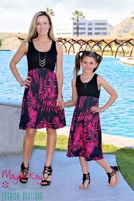 mommy and me outfits mommy u0026 me black u0026 pink aloha dress - adult bgiynzg