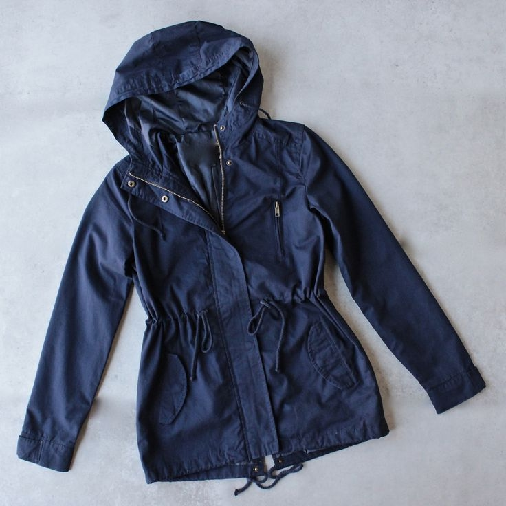 navy jacket womens hooded utility parka jacket with drawstring waist - navy zknrnhq