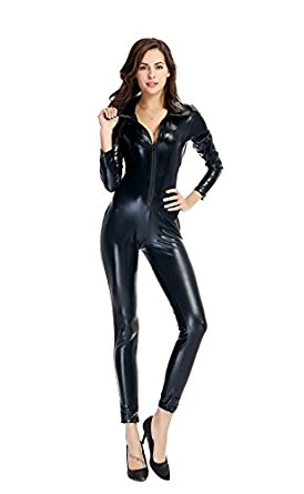 new women black patent leather jumpsuit hot bondage catsuit wetlook leotard  bodysuit fkbtkiv
