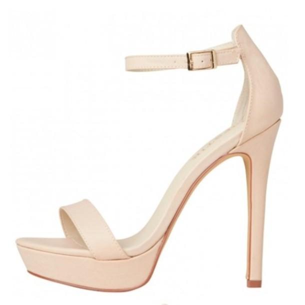 nude high heels shoes nude stone stilettos sandals heels ankle strap creme cream thin heel sdkjidp