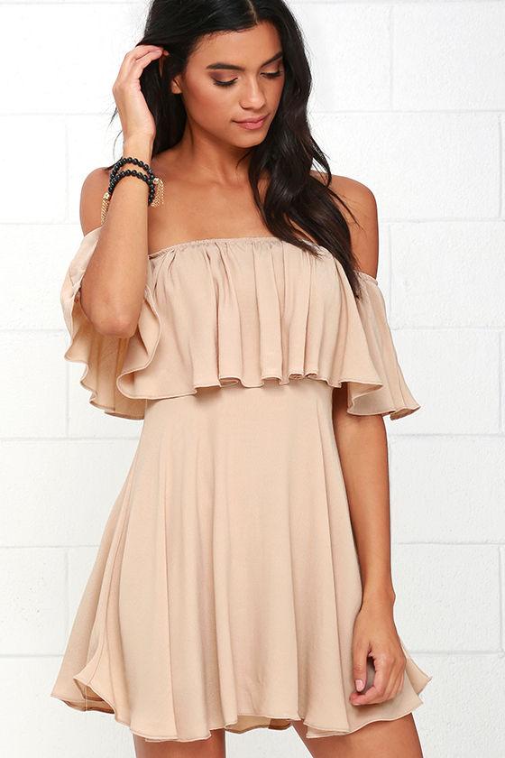 off the shoulder dresses fun beige dress - off-the-shoulder dress - woven dress - $49.00 gicaepv
