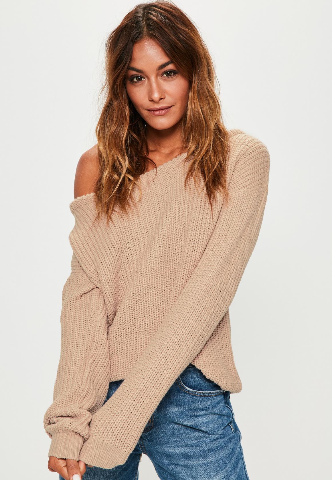 off the shoulder jumper beige off shoulder knitted jumper. previous next aceqktf