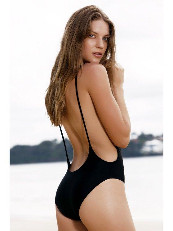 one piece bathing suit affordable monokini high cut backless one-piece swimwear - black m pacfwsl
