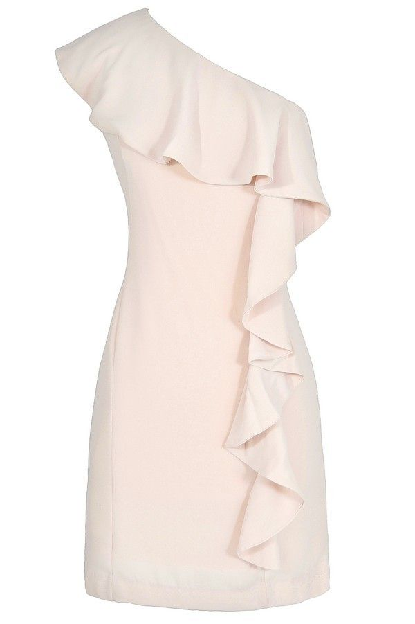 one shoulder waterfall ruffle dress in shell www.lilyboutique.com vgdzgnf