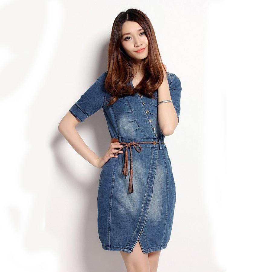 online shop woman denim dress jeans dresses sexy v-neck short sleeve plus mtqwxss