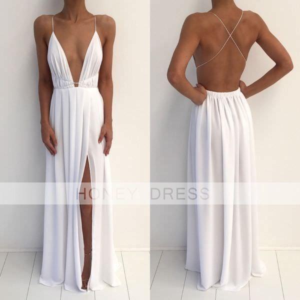 open back dresses image of white chiffon v neck backless open back evening dress with slit uaybaix