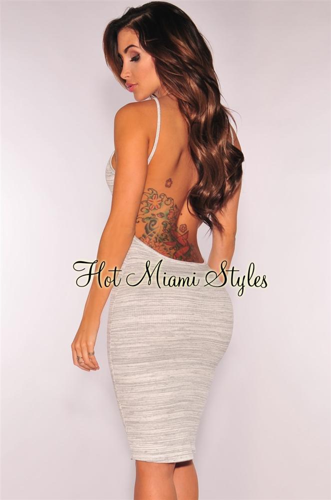 open back dresses white gray marled low open back dress vwdewzl