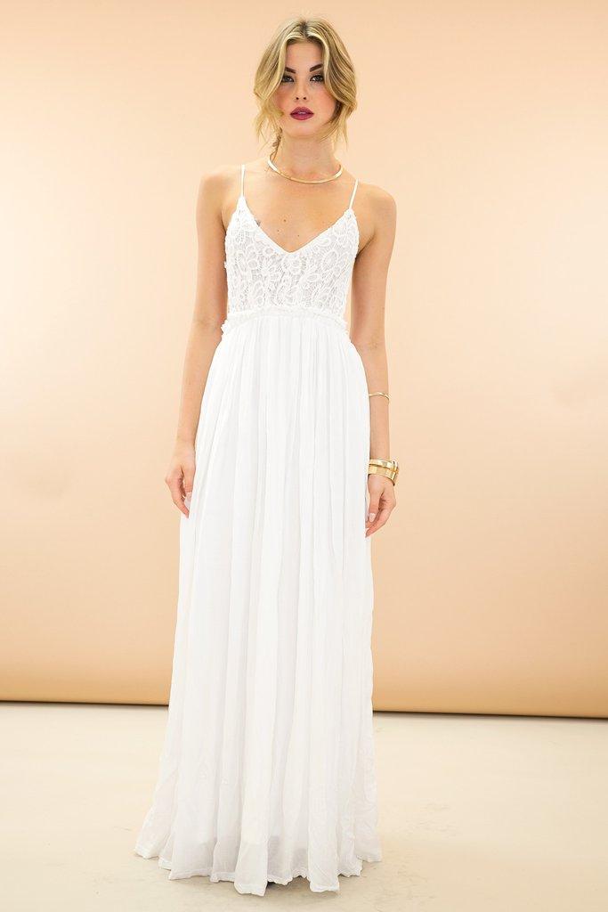 open back maxi dress ... camilla open back crochet maxi dress - white /// only 1-l left qnhogng