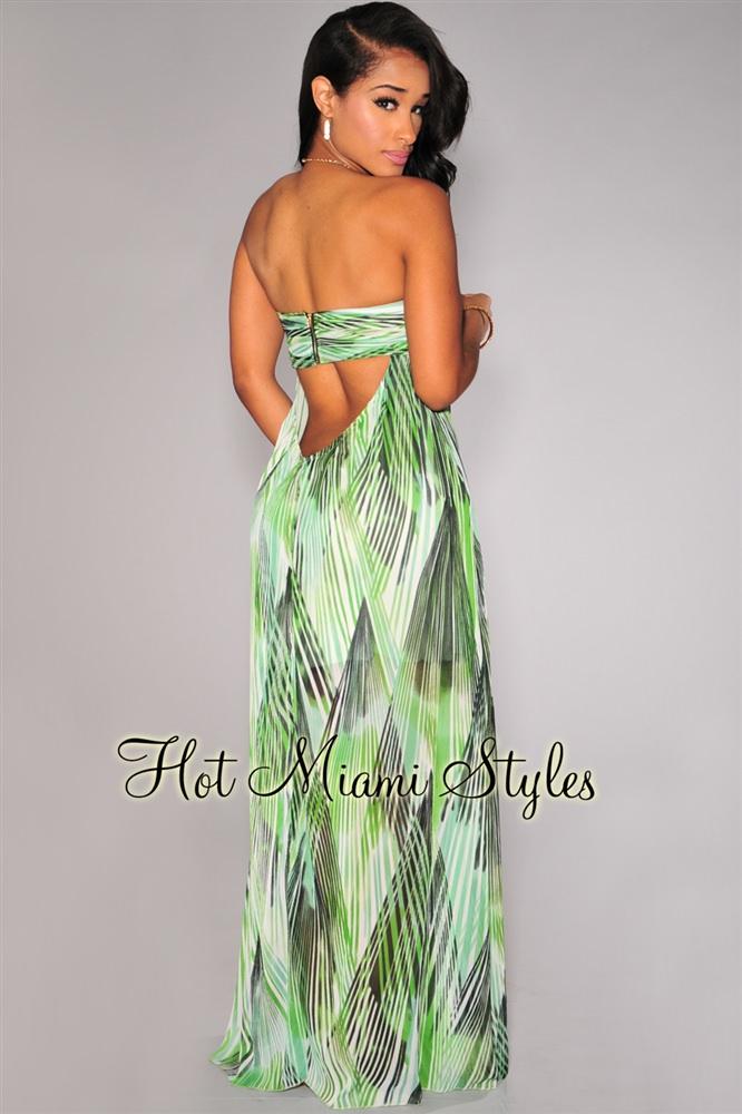 open back maxi dress green print open back strapless maxi dress vvkavas