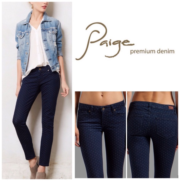 paige jeans paige navy pin dot verdugo ankle skinny jeans. nwt hlogxzl