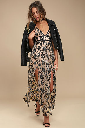 party dresses for women somedays lovinu0027 dusk black and nude embroidered maxi dress 1 tcyqrmh