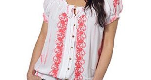 peasant tops fever ladiesu0027 short sleeve peasant top-coral, xxl zzarwkm