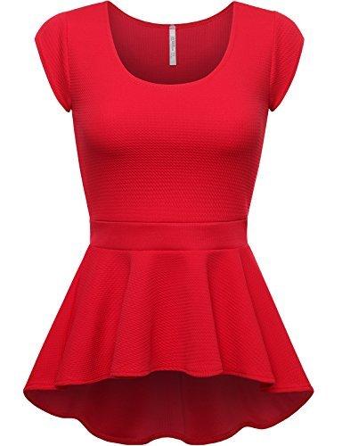 peplum tops fpt womens short sleeve peplum top red medium doukdtu