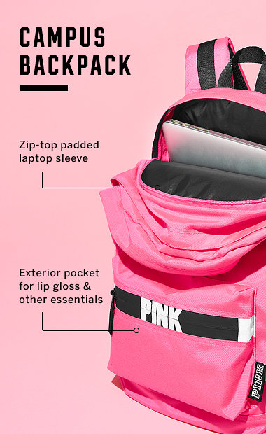 pink bags campus backpack. zip-top padded laptop sleeve. exterior pocket for lip  gloss u0026 rtvzkuc