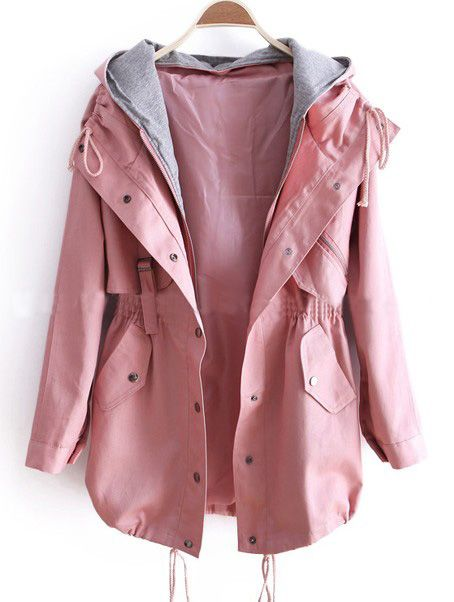 pink jacket pink removable hooded long sleeve drawstring trench coat bphrzgn