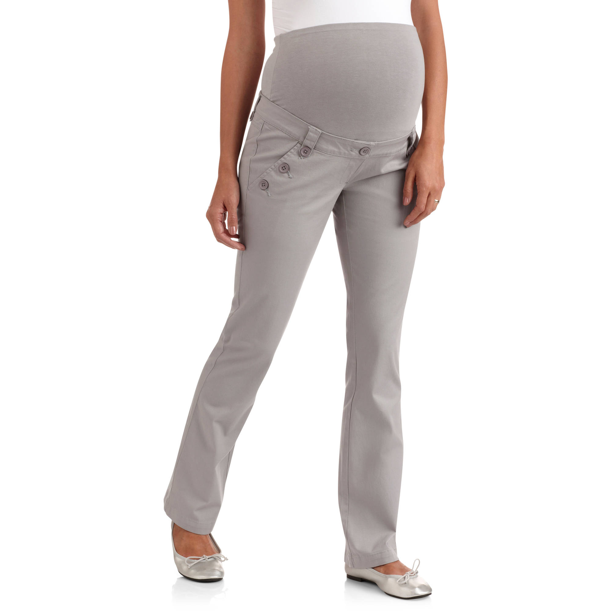 planet motherhood full-panel woven maternity pants with button-front curved  pockets wflaykt
