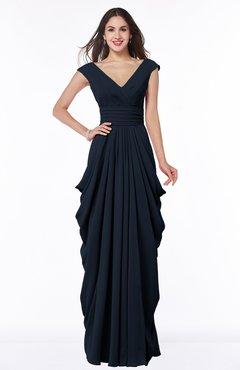 plus size bridesmaid dresses navy blue mature short sleeve chiffon floor length pleated plus size  bridesmaid odhxdem