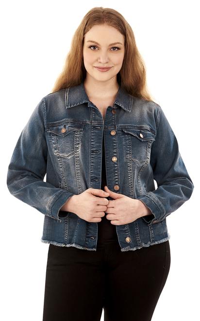 plus size denim jacket ... plus size basic denim jacket in steel ... ifcogwn