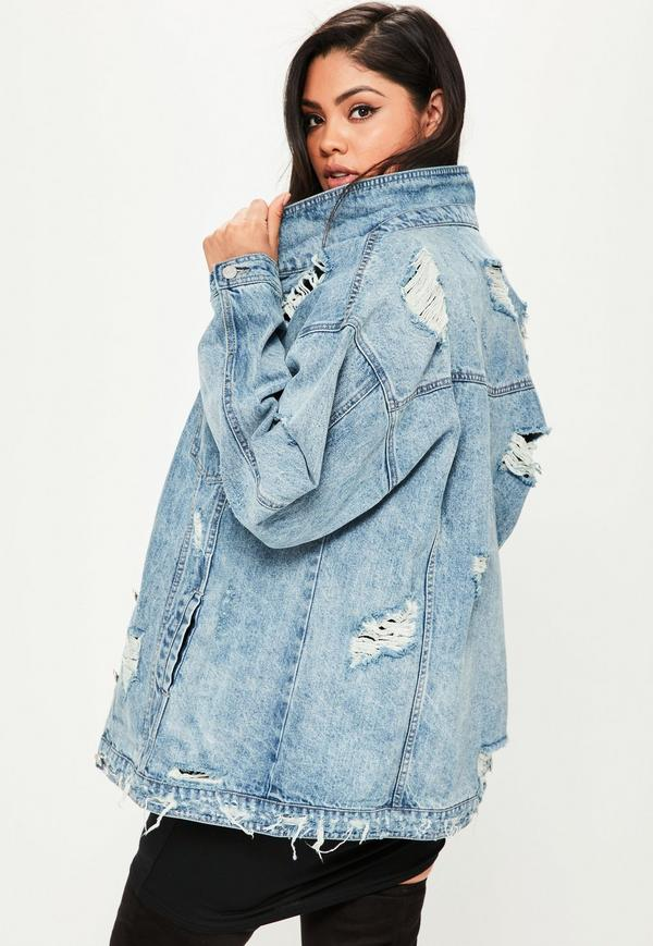 plus size denim jacket plus size blue authentic ripped denim jacket. $95.00. previous next yjjumkm