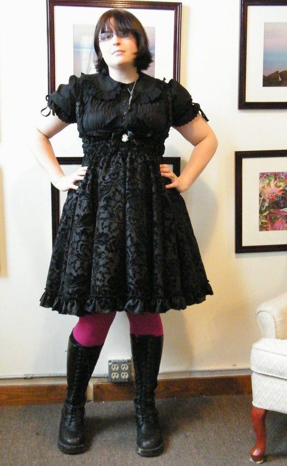 plus size gothic clothing gothic lolita dress jumper velvet flock gorgeous black on black print-  custom zgkfafs