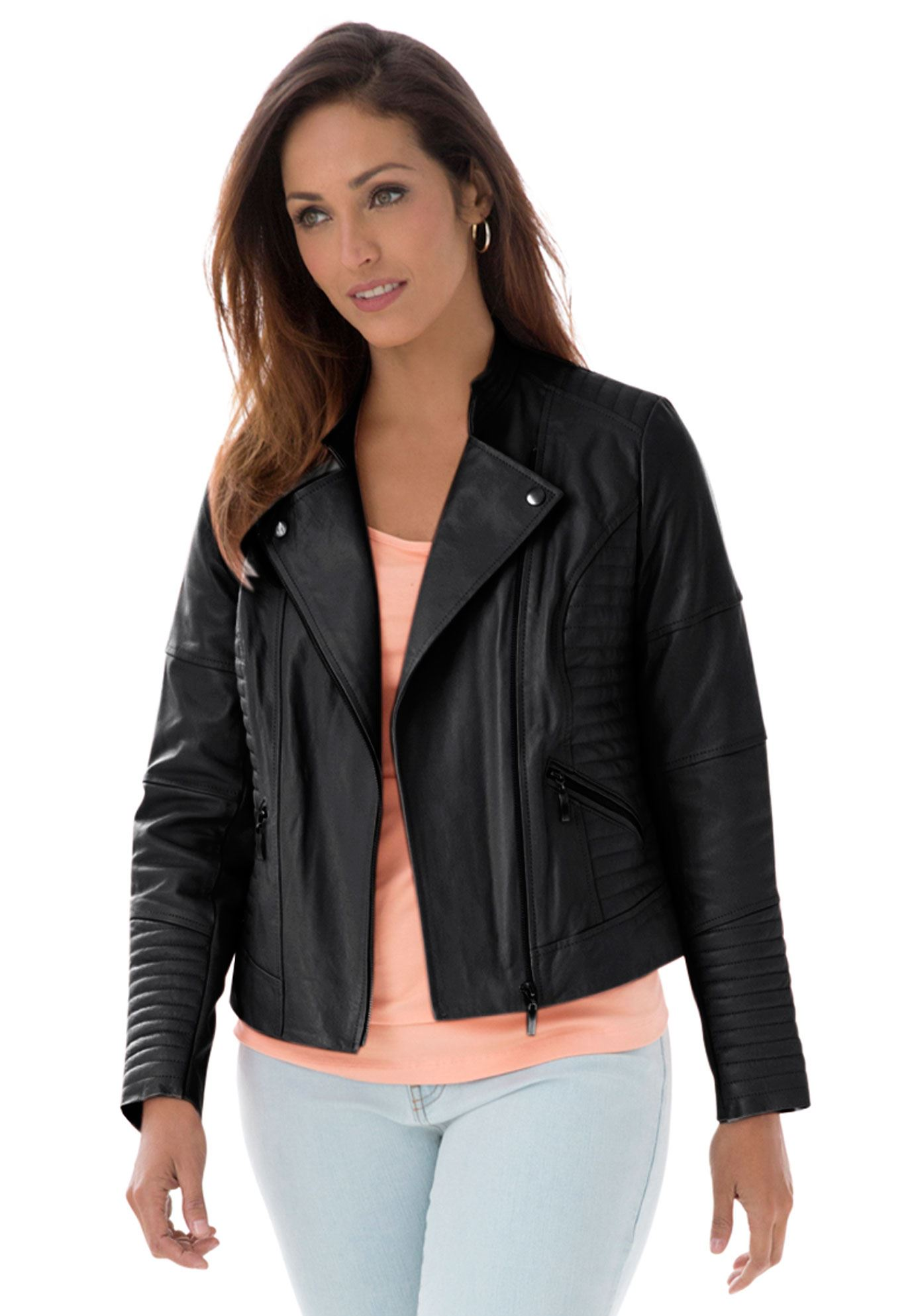 plus size leather jacket quilted leather moto jacket jdoitdv