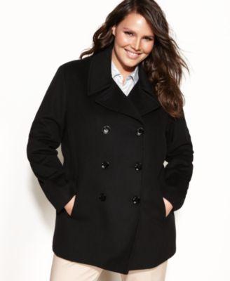 plus size pea coat calvin klein plus size, wool-cashmere-blend pea coat imoegvj
