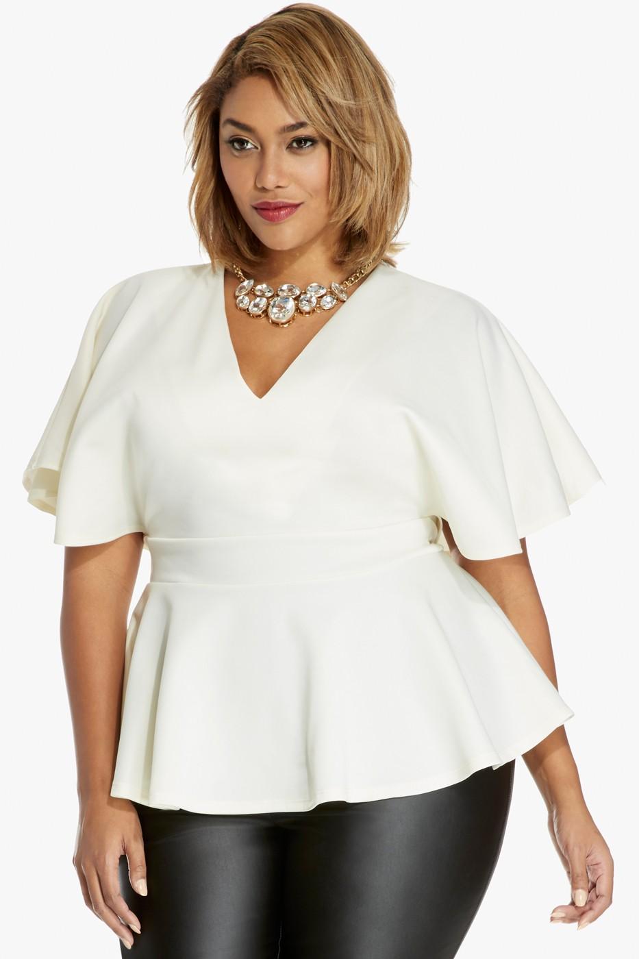 plus size peplum top plus size darling batwing peplum top | fashion to figure wfyvdud