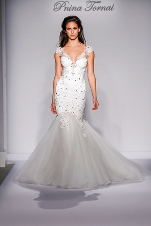 pnina tornai wedding dresses v-neck mermaid wedding dress with natural waist in satin. bridal gown style uiyypcw
