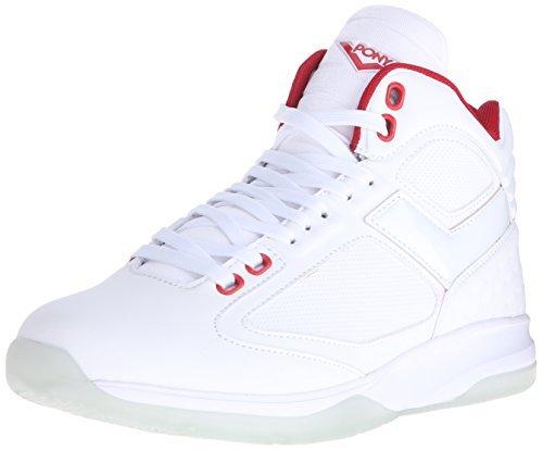 pony shoes pony menu0027s sp 30 core ultra lite walking shoe, white/electric red, 10 d wpqpnhw