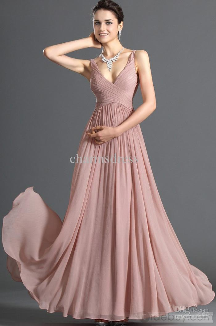 product name: dusty pink chiffon dress v-neck floor length a-line evening  prom fmsujlf