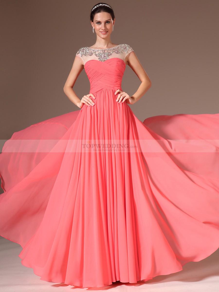 prom gowns rhinestoned sheer neckline chiffon a line prom dress skivdof