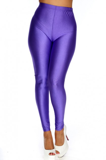 purple leggings purple stretch fit semi shiny leggings bzmahva