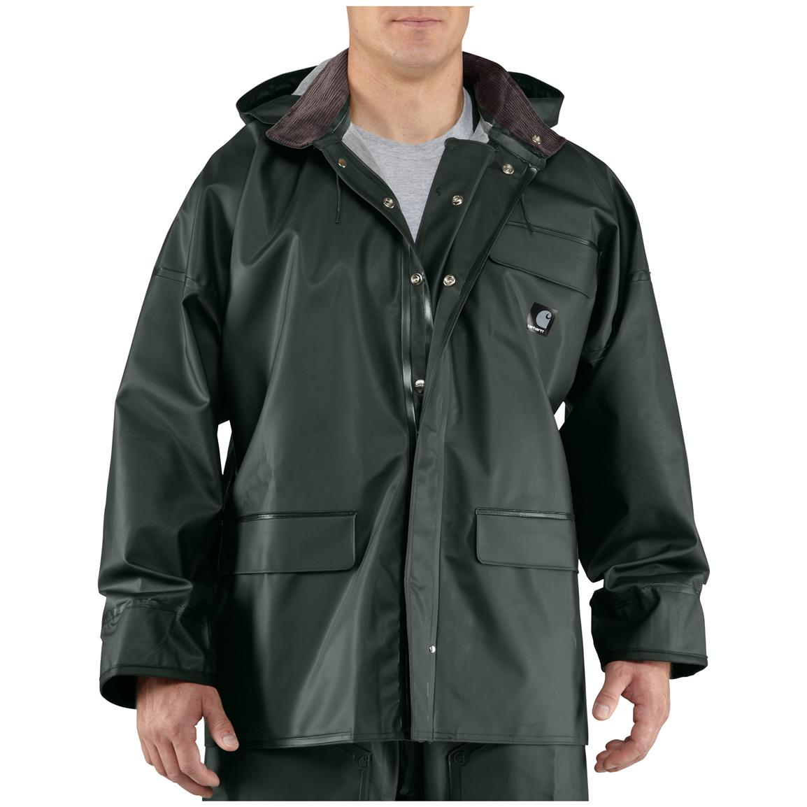 rain jackets for men menu0027s carhartt® surrey waterproof hooded rain coat, green bcsvmtp