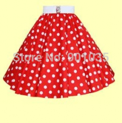 red and white polka dot skirt free shipping red with white polka dot womens swing skirt(china (mainland)) gzlrdmd