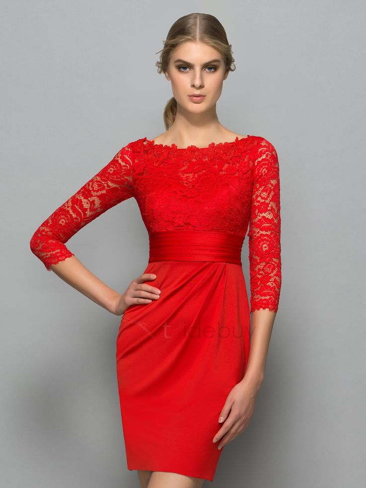 red cocktail dresses classy bateau neck 3/4 length sleeve red lace cocktail dress puczibn