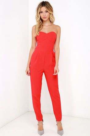 red jumpsuit electric boogaloo red strapless jumpsuit wkqzmly
