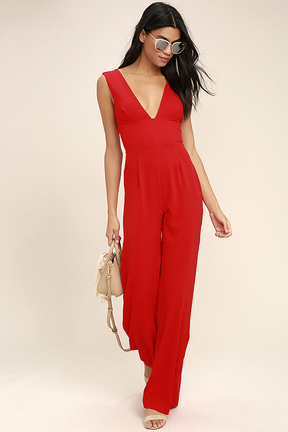 red jumpsuit fashion faithful red wide-leg jumpsuit 1 lrsohch