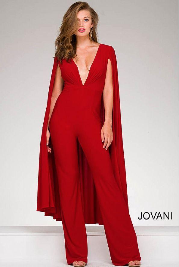 red jumpsuit jovani 46031 pwbctox