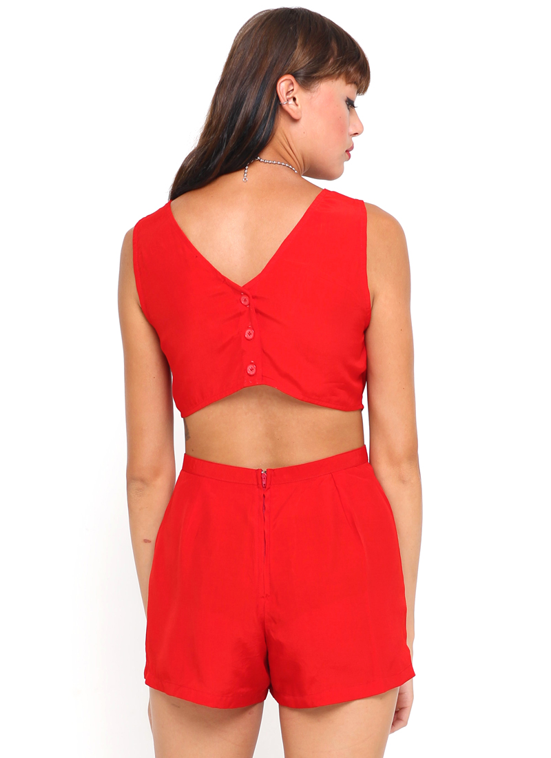 red playsuit ... motel bella cut out playsuit in silky red ... mfcfheg
