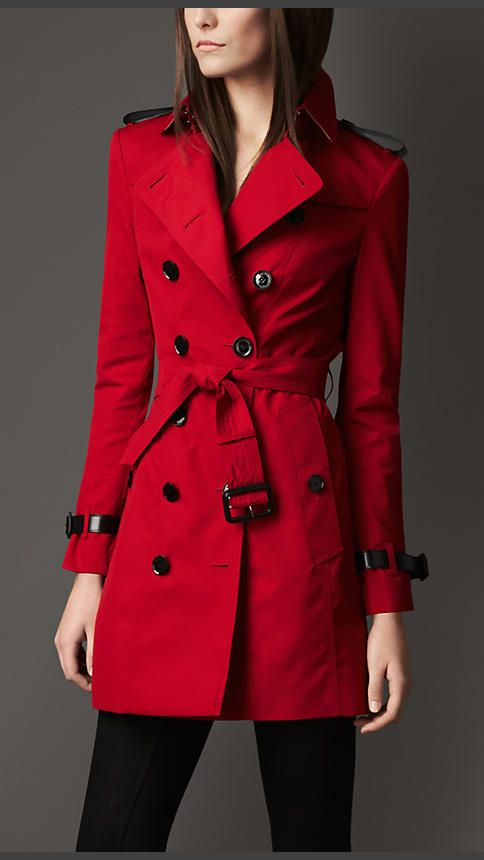 red trench coat mid-length technical cotton double gun flap trench coat | burberry uylvkfr
